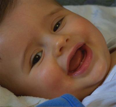 Houston showing off his first two teeth in early February 2008.