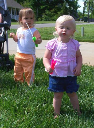 Gracie & Dixie blowing bubbles in May 2008.